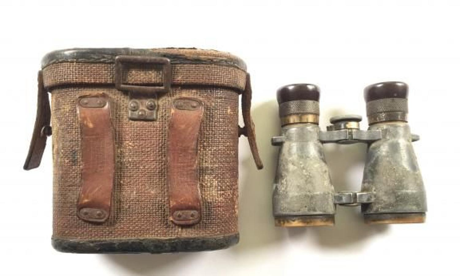 WW1 German Late War Erzat Binocular Case & Binocular.