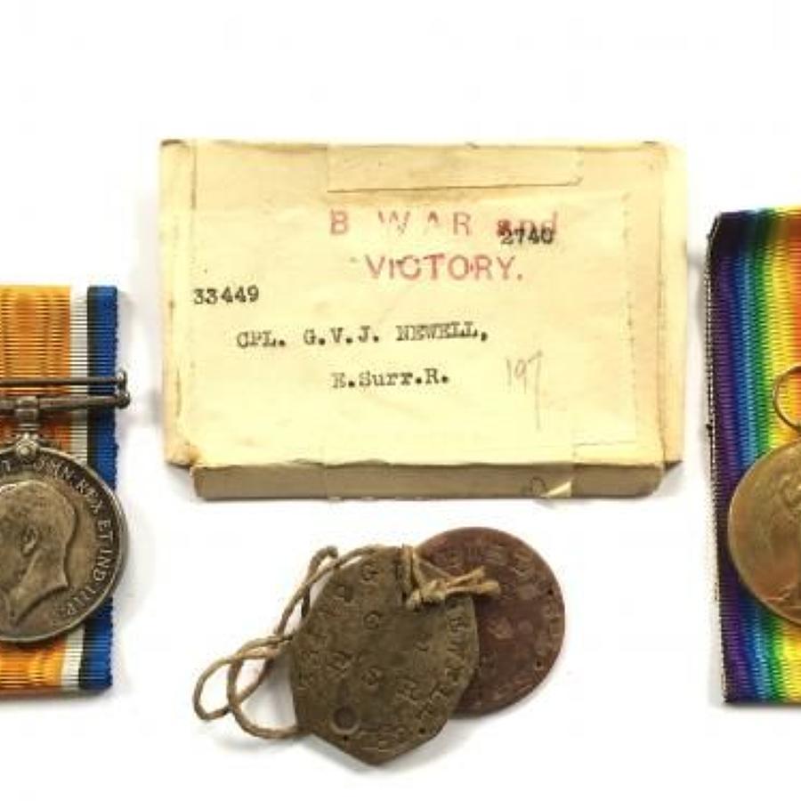 WW1 East Surrey Regiment Medals & Dog Tags.