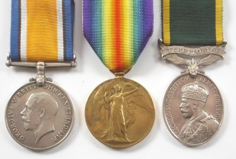 Devonshire Regiment & 7th BN London Regiment Group of Three Medals.