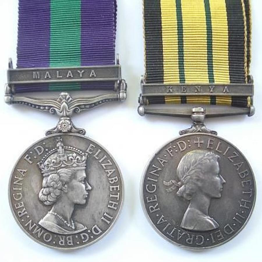 "Rifle Brigade Africa General Service Medal ""Kenya"" pair of medals."