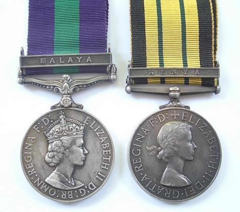 "Rifle Brigade Africa General Service Medal ""Kenya"" pair of medals."