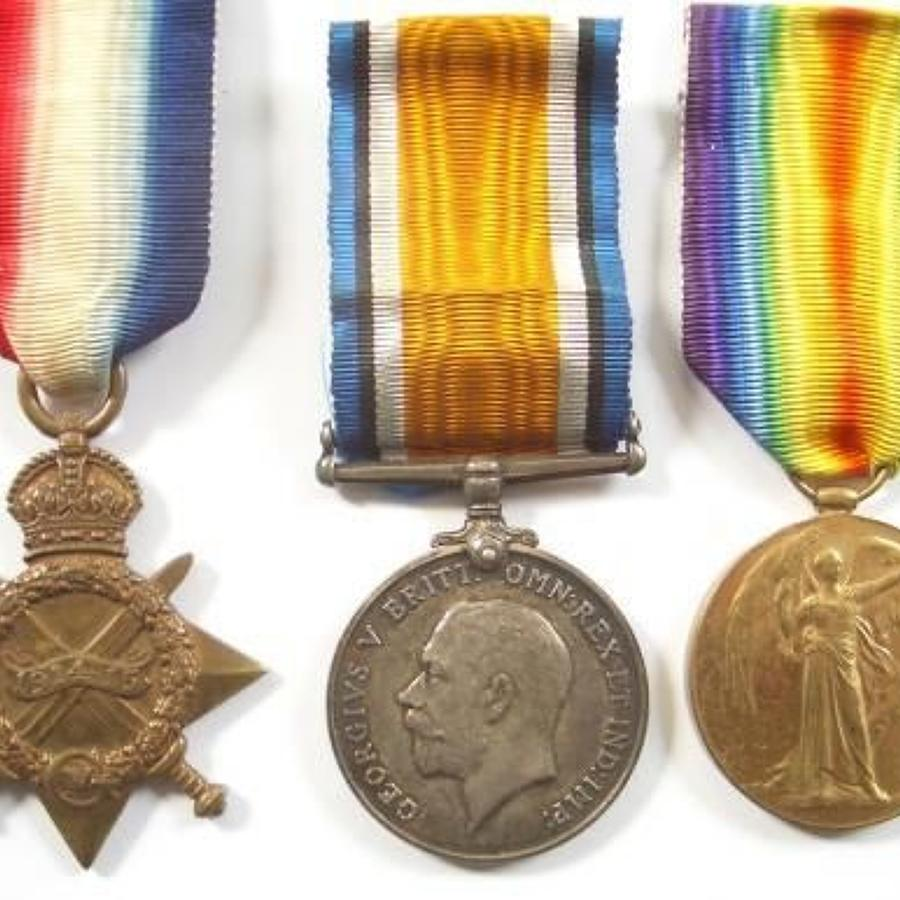 WW1 2nd Bn Cheshire Regiment 1915 Battle of Ypres Casualty Trio of Med