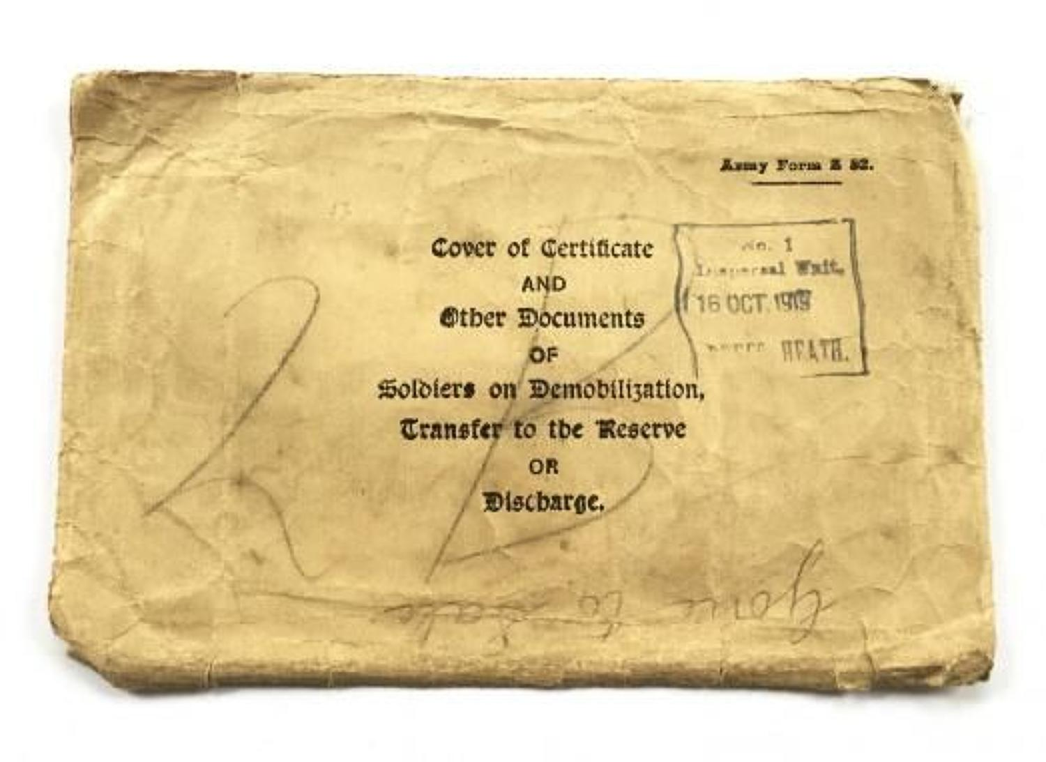 WW1 British Army Discharge Certificate Envelope.