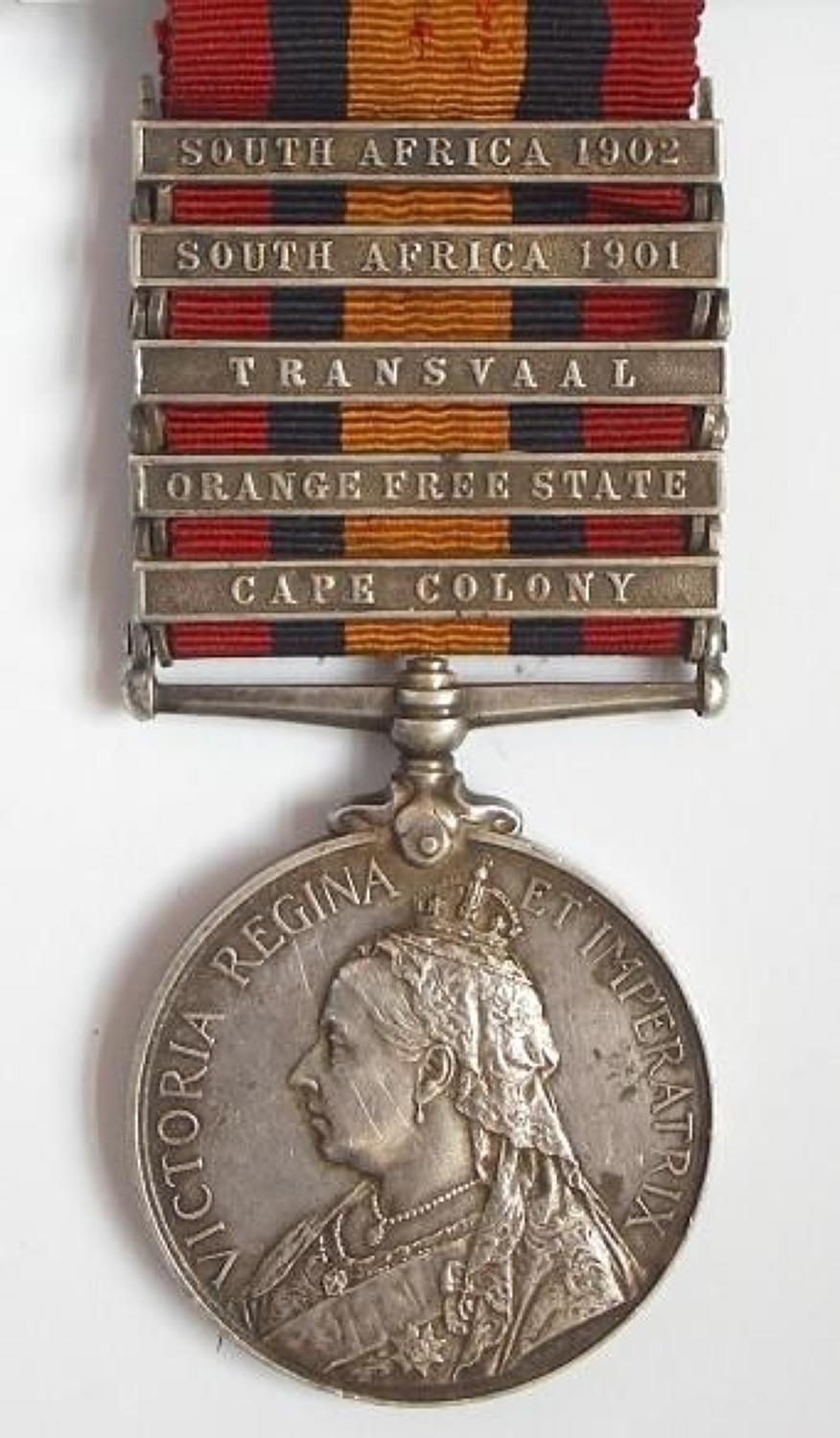 South African Constabulary five clasp Queen's South Africa Medal.