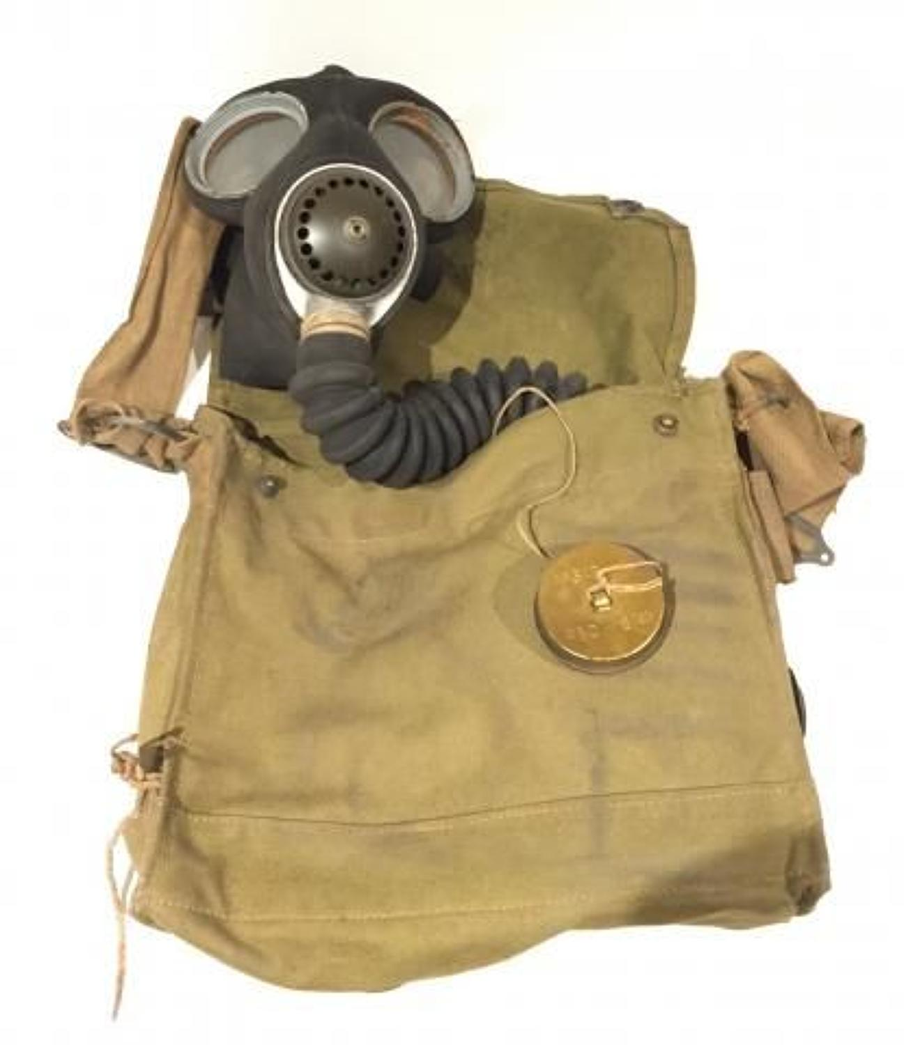 WW2 1942 Dated British Military Issue Gas Mask & Case.