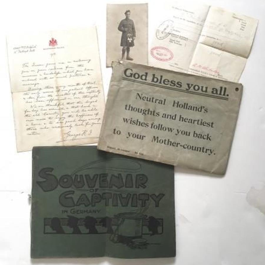 WW1 16th Bn Royal Scots POW Ephemera.