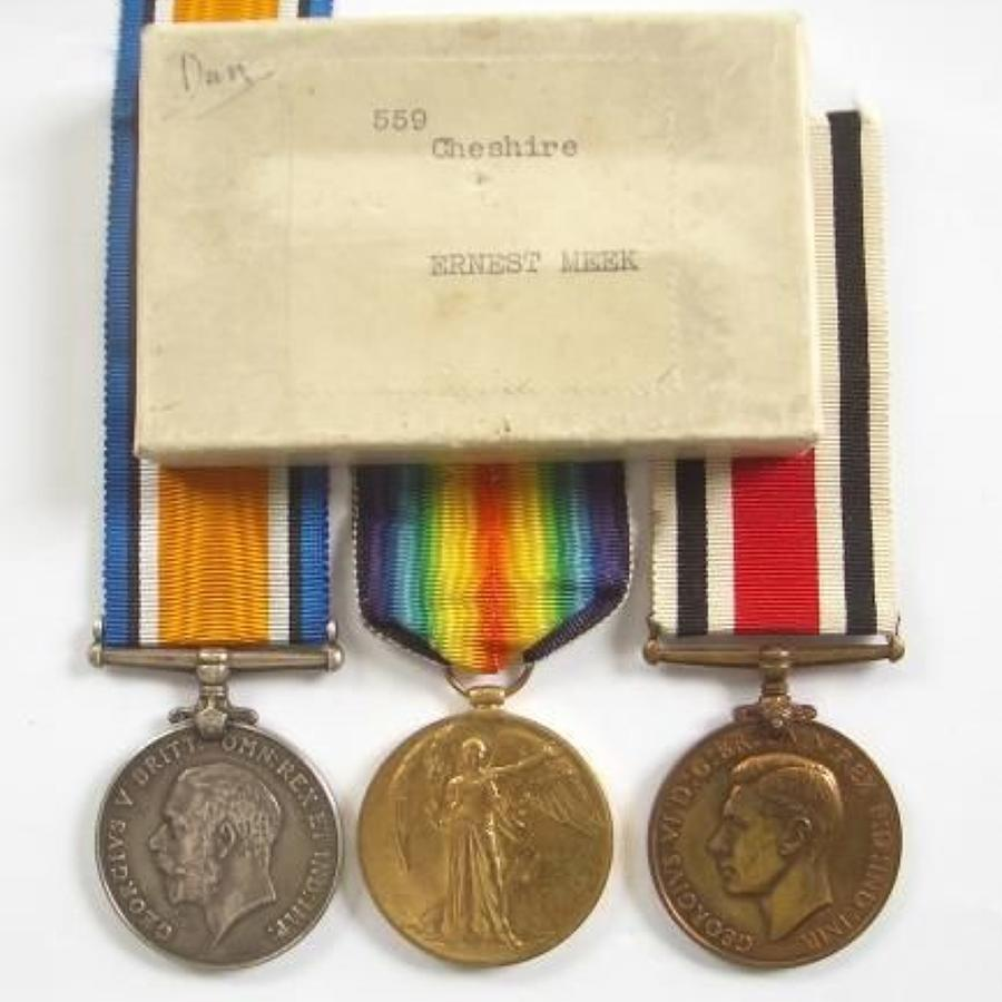 WW1 Cheshire Regiment Group of Three Medals.