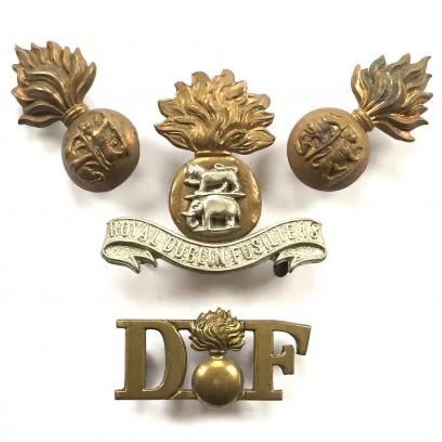 WW1 Period Royal Dublin Fusiliers Badges. All on Loops