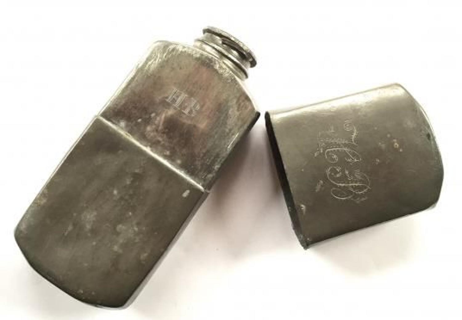 Victorian Military Campaign Style Pewter Spirit Flask.