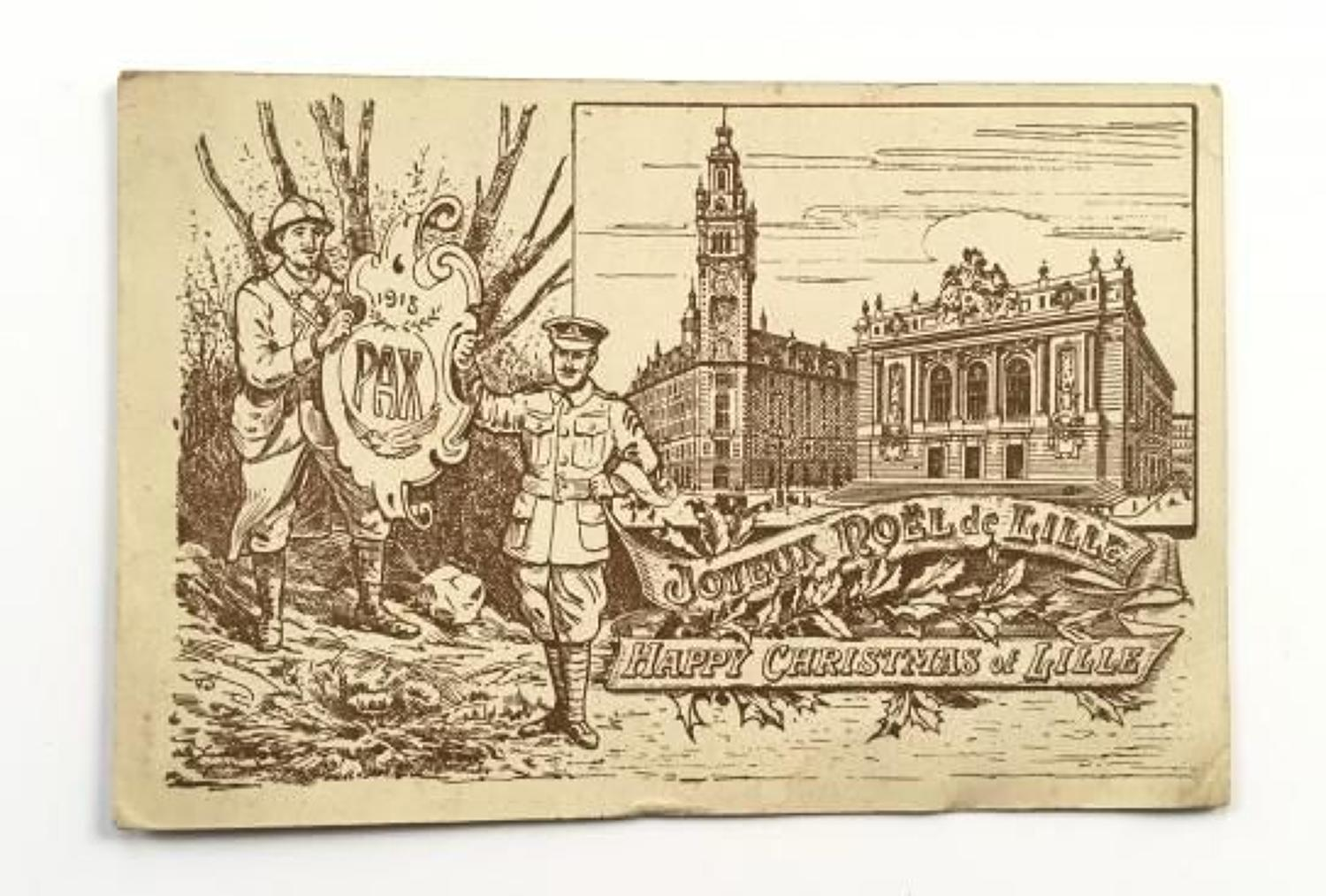WW1 1915 Christmas Card Sent Home From France.