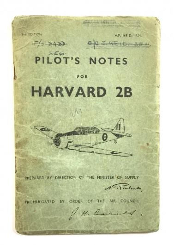 WW2 Period Original Pilots Notes Harvard 2B.