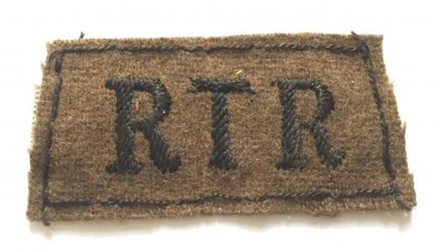 WW2 Royal Tank Regiment Slip On Cloth Shoulder Title Badge.