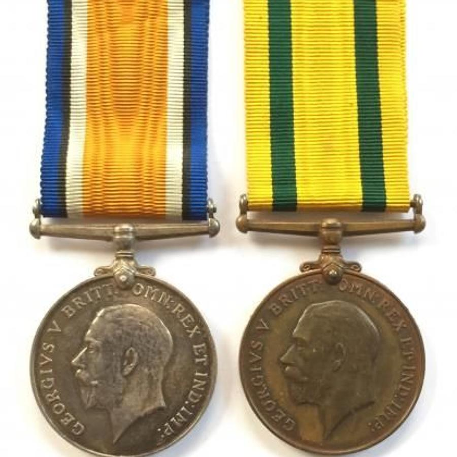 WW1 Somerset Light Infantry Territorial War Medal Pair.