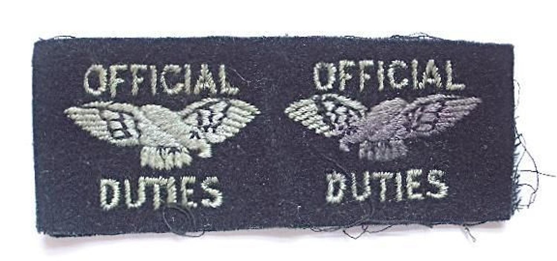 WW2 RAF Official Duties Pair Cloth Badges.