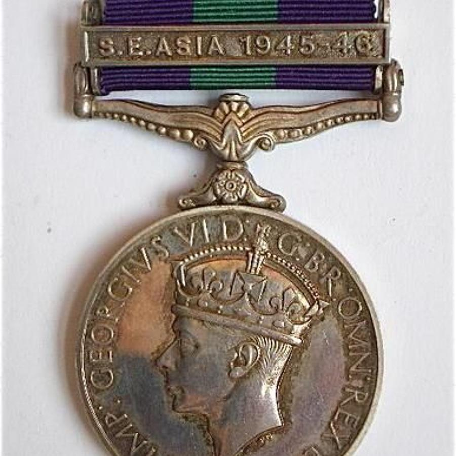 "Royal Signals Officer's General Service Medal, ""S.E. Asia 1945-46"