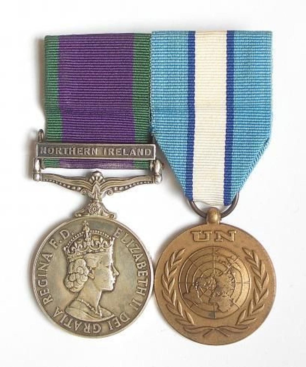 Royal Signals Northern Ireland Cyprus Medal Pair.