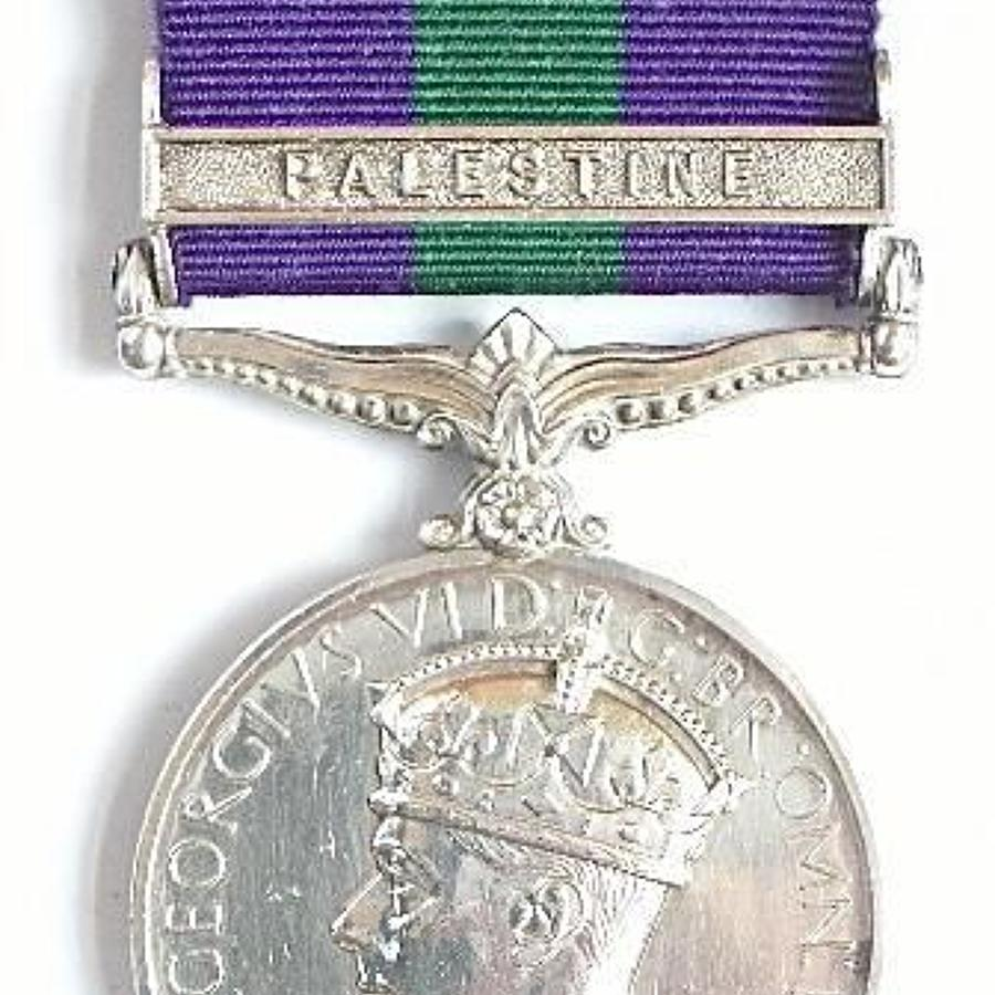 York & Lanc Regiment General Service Medal Clasp Palestine.