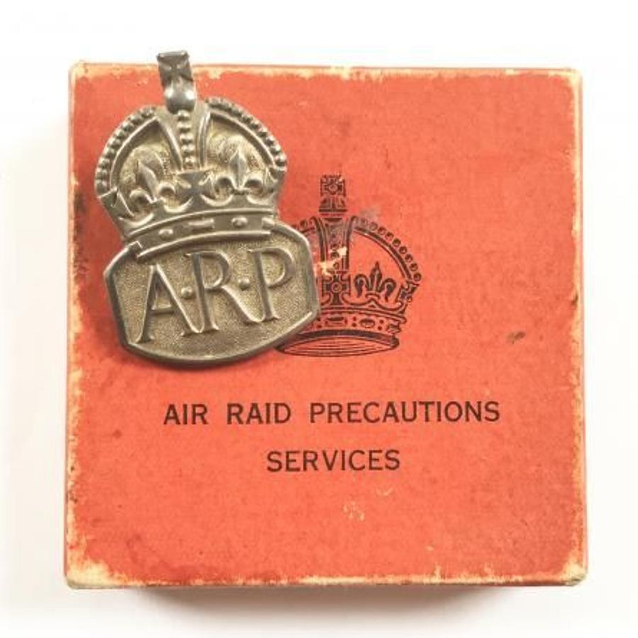 WW2 ARP Air Raid Precautions Services Silver 1938 Badge & Box.