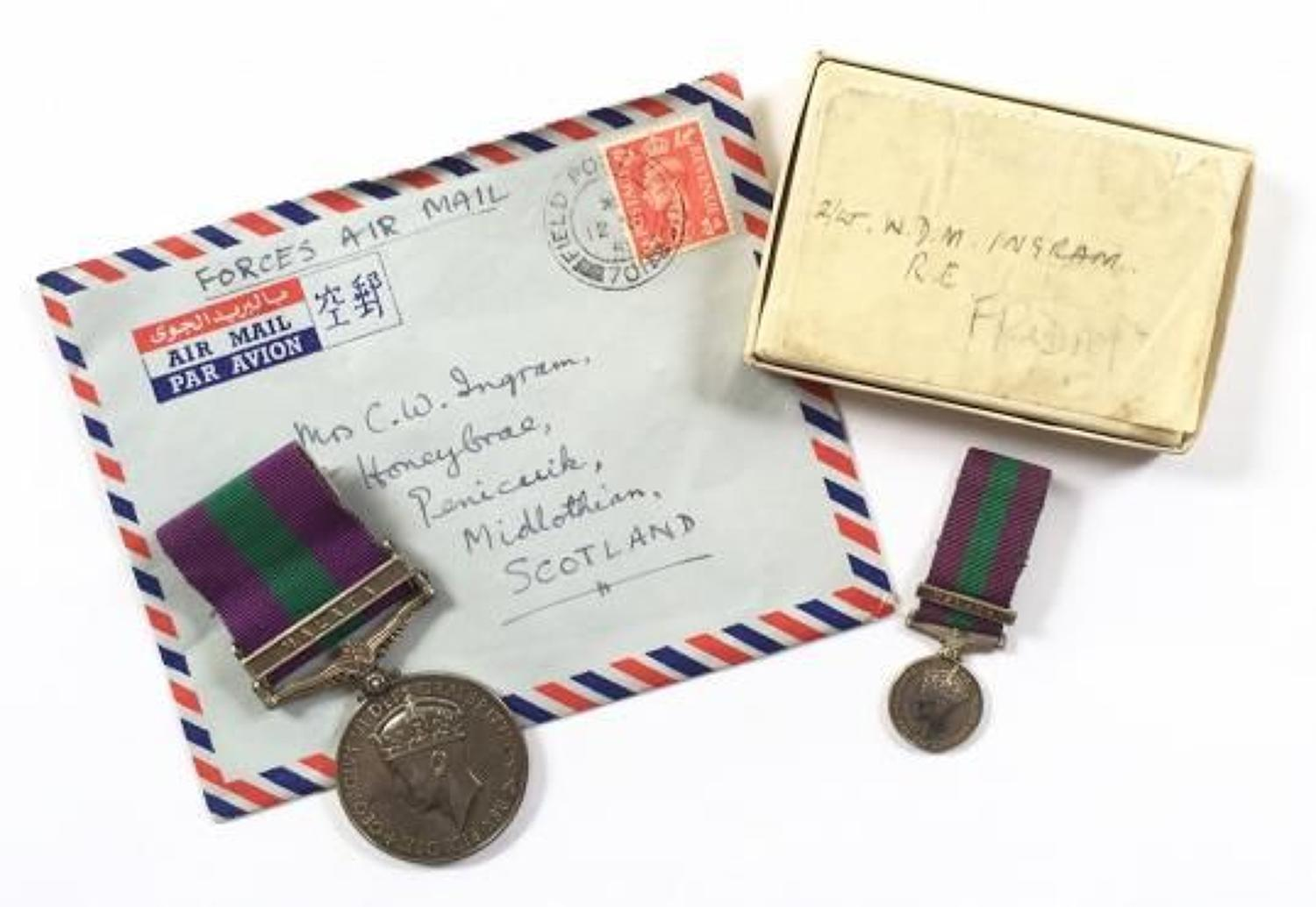 Royal Engineers Officer Attached Gurkha's GSM Medal