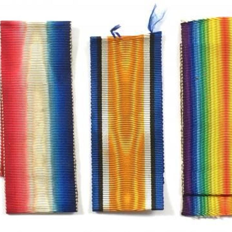WW1 Medal Trio Original Silk Ribbons.