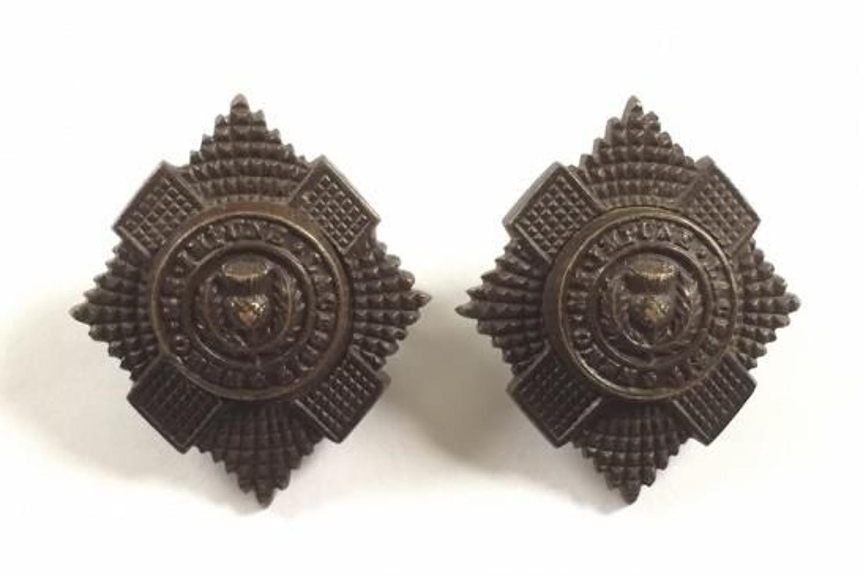 WW1 / WW2  Royal Scots Officer's OSD Collar Badges.