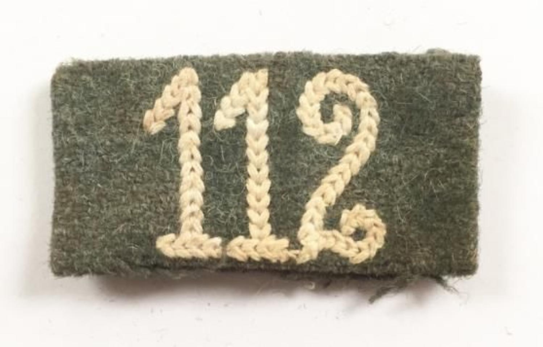 WW2 German Army Slip on Regimental Number 112