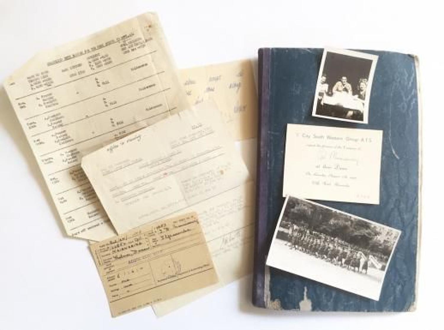 WW2 ATS Personnel Scrap Book With Badges