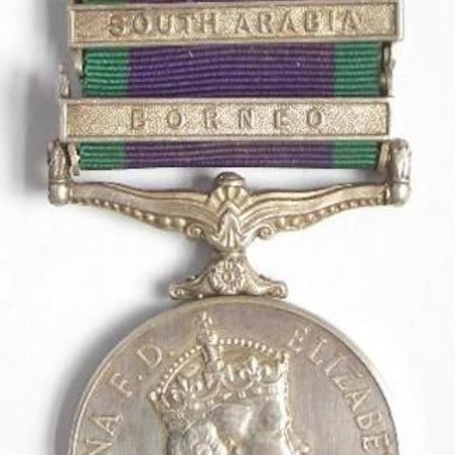 Royal Navy Campaign Service Medal, with two Clasps.