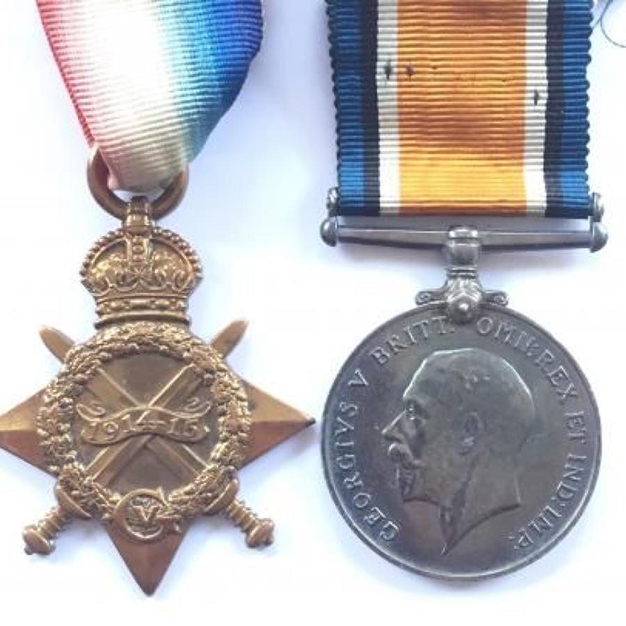 WW1 1/1st Bucks Bn Oxf & Bucks Light Infantry Medal Pair