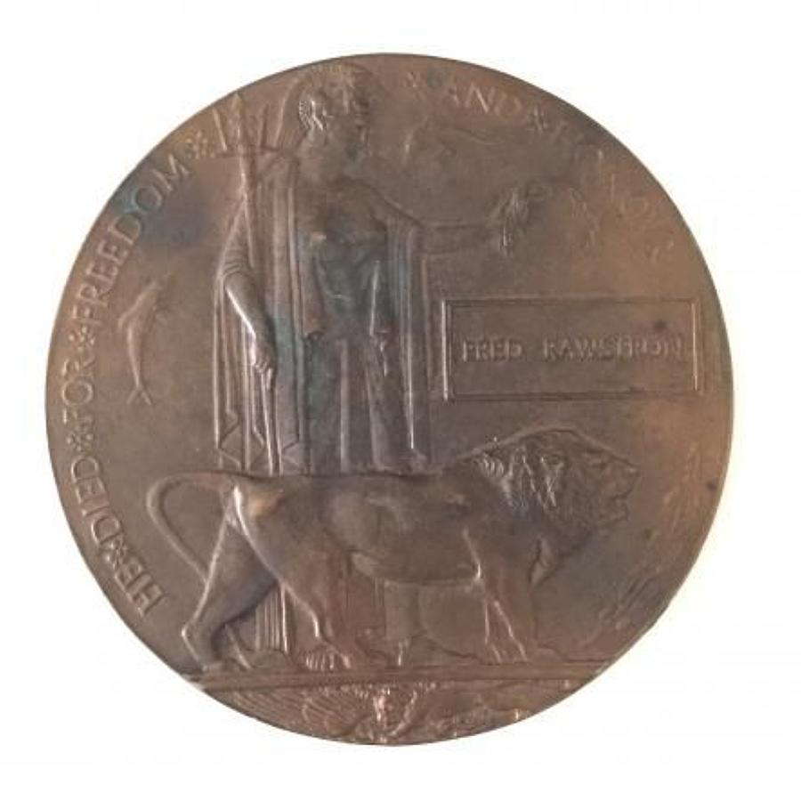 WW1 Memorial Plaque. RAMC East Lancashire Regiment.