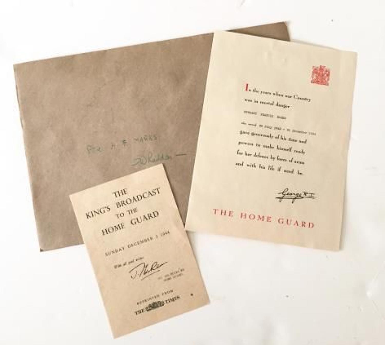 WW2 12th Bucks Home Guard Whaddon Certificate.
