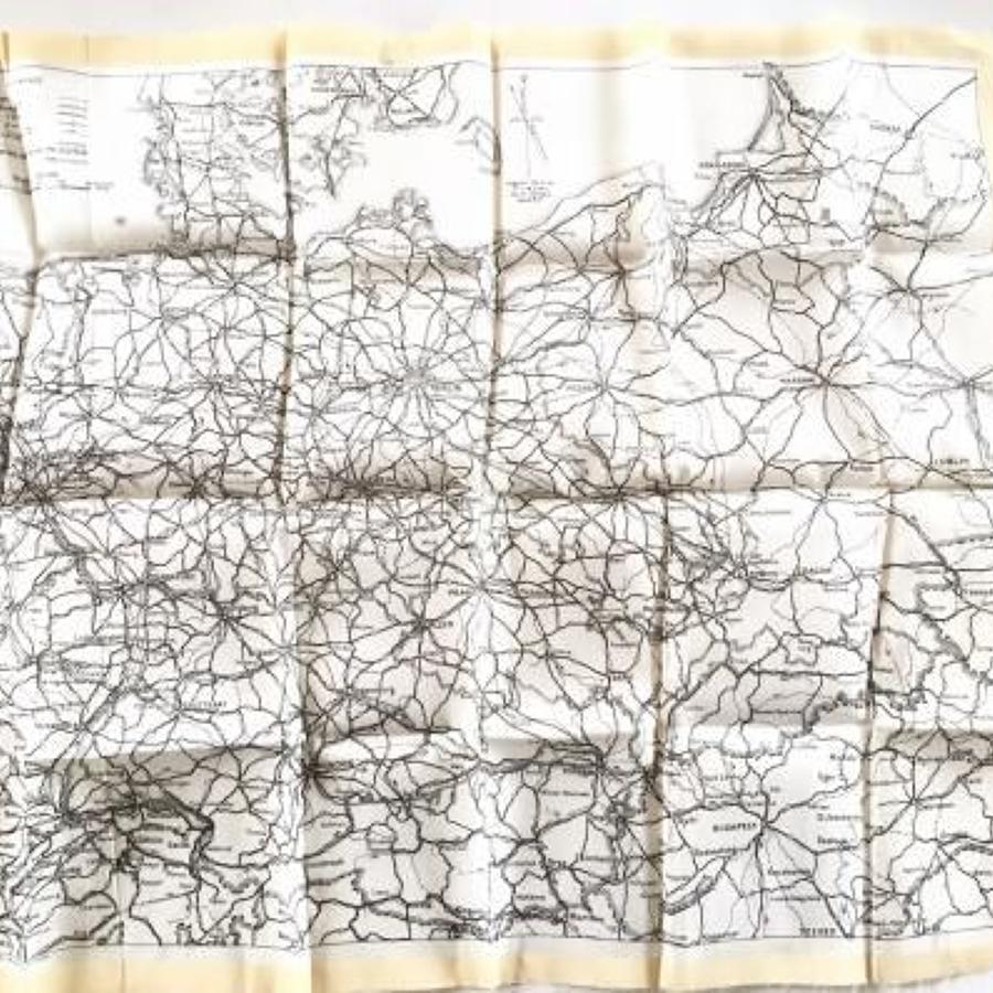 WW2 RAF Early Silk Escape Map Circa 1941.