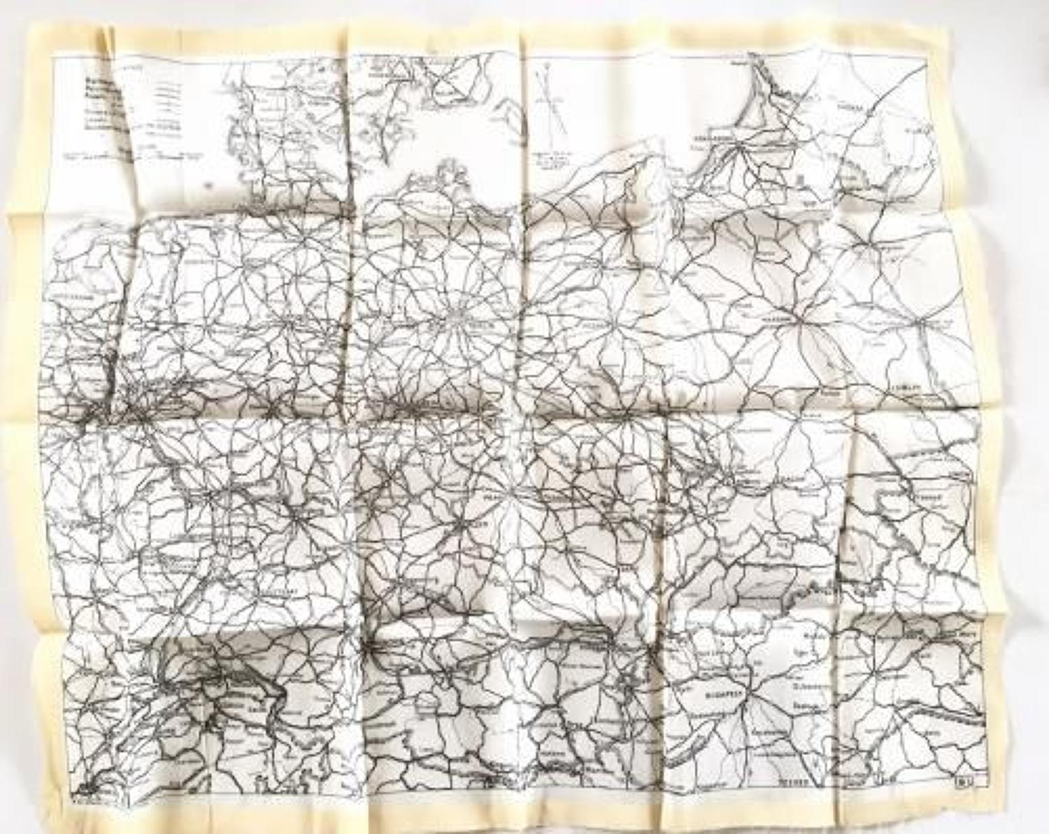WW2 RAF Early Silk Escape Map Circa 1941.