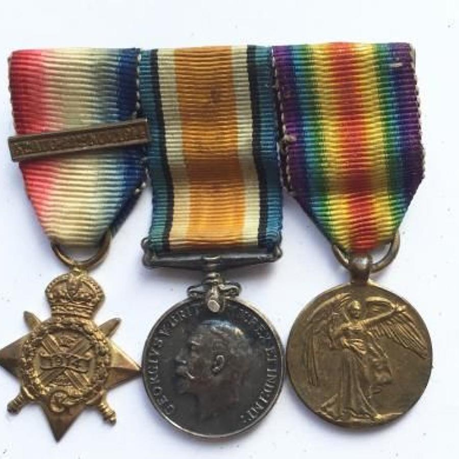WW1 1914 Star Bar Trio of Miniature Medals.