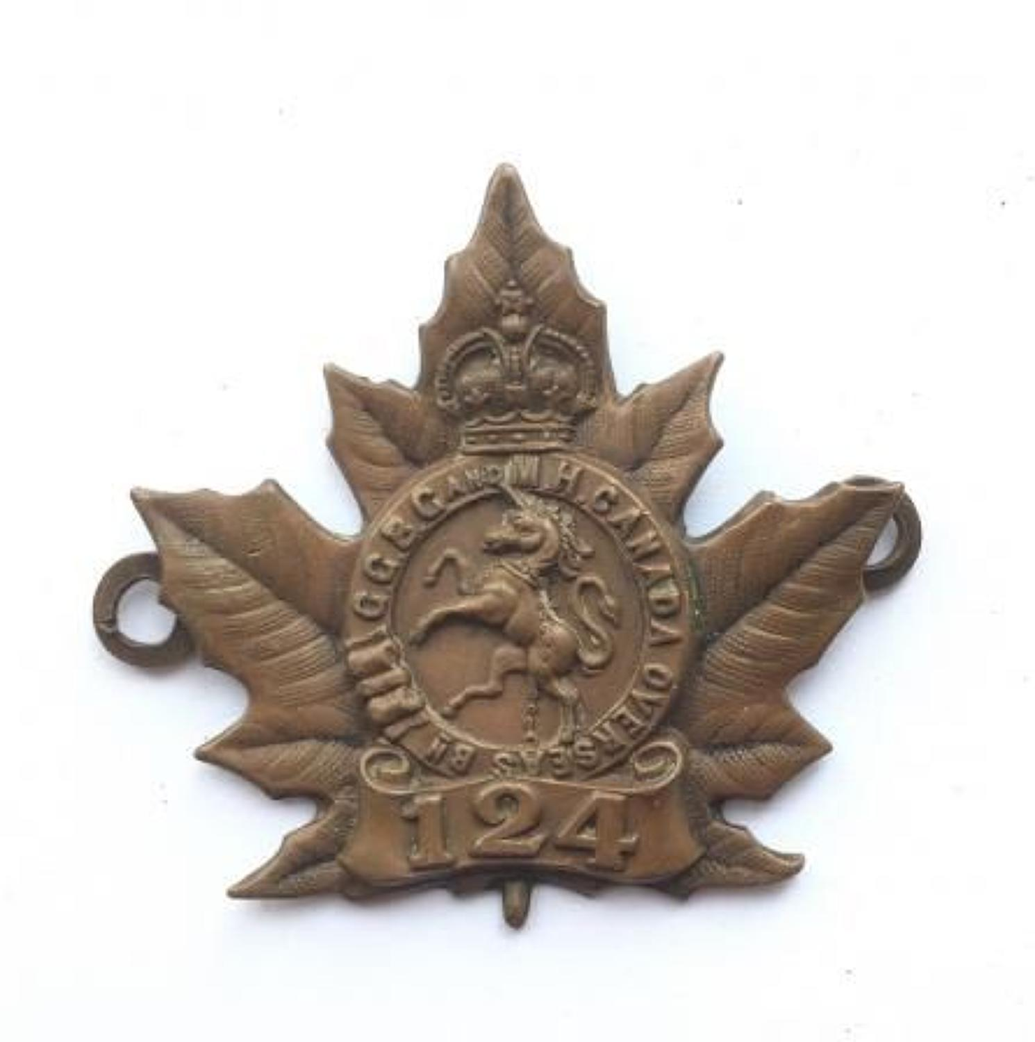 WW1 Canada 124th CEF Bronze Cap Badge