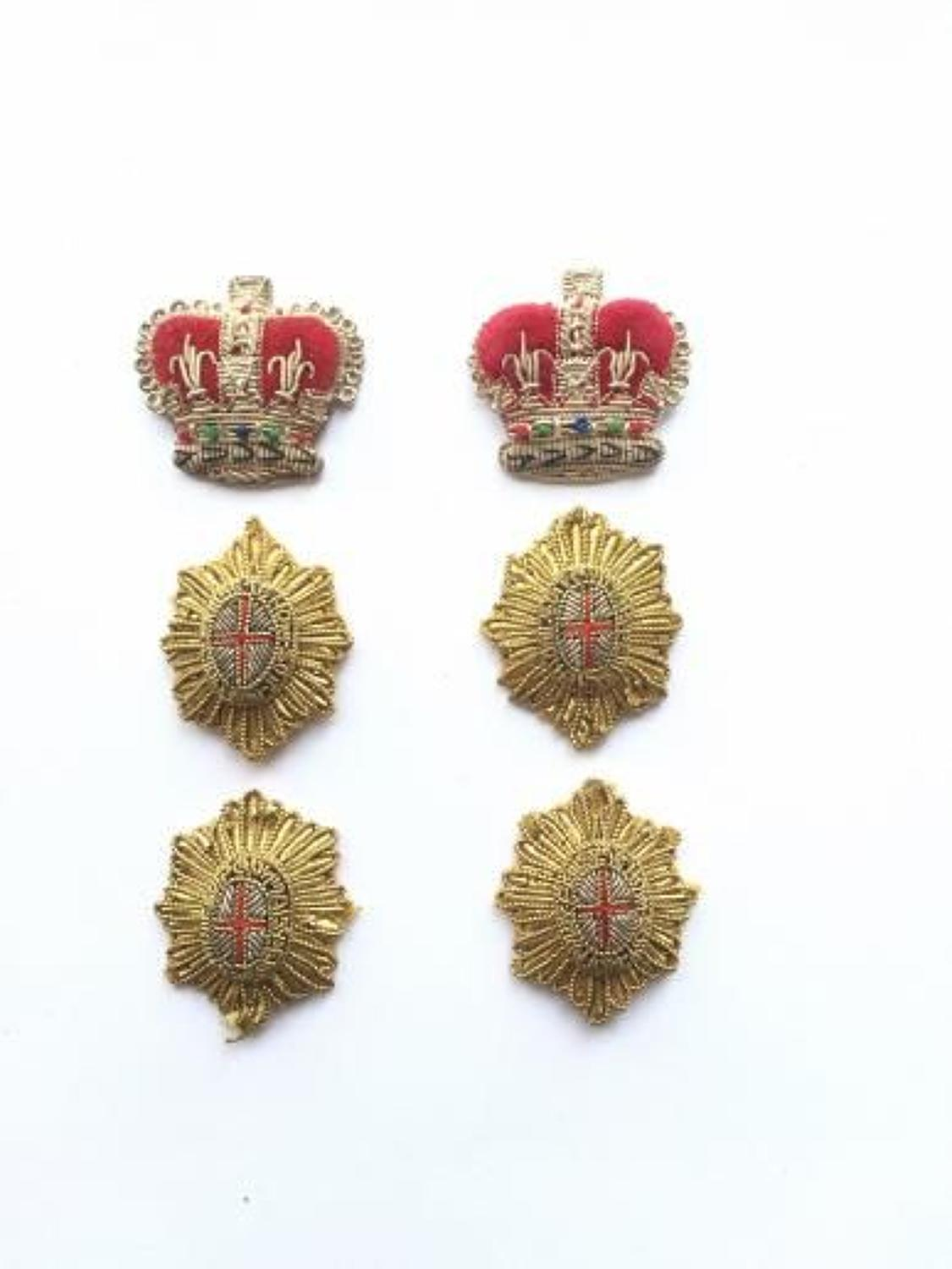 Household Cavalry Bullion Officer's Rank Insignia Badges.