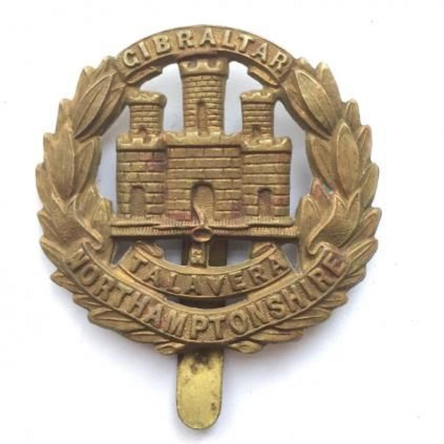 WW1 Northamptonshire Regiment All Brass Economy Cap Badge.