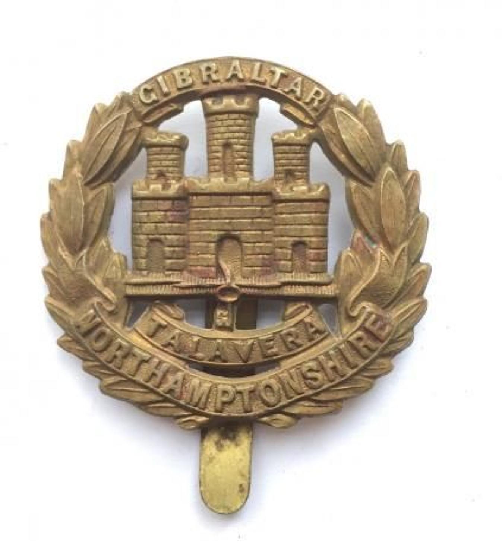 WW1 Northamptonshire Regiment All Brass Economy Cap Badge.