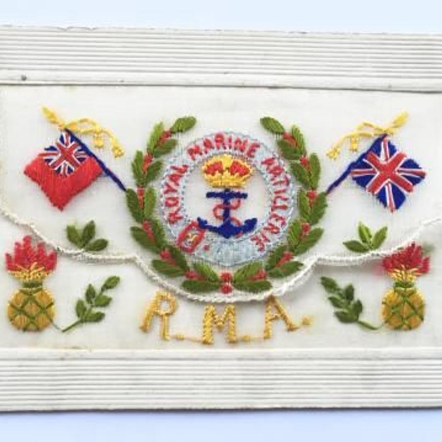 WW1 Royal Marine Artillery Silk Embroidered Postcard.