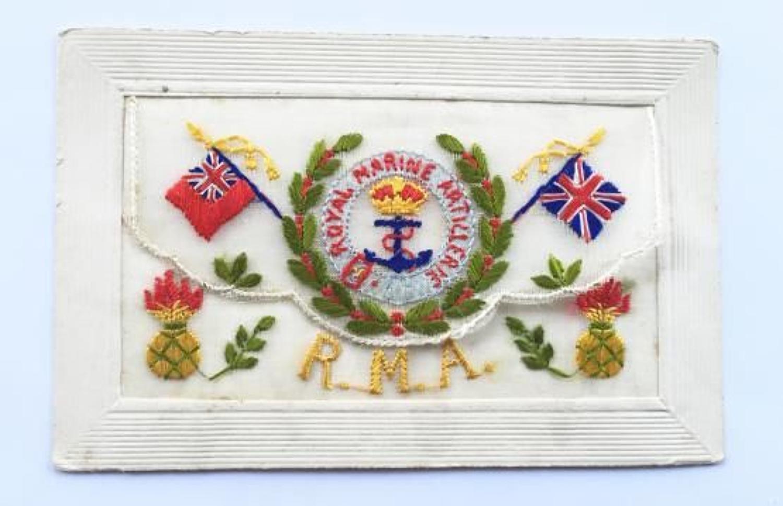 WW1 Royal Marine Artillery Silk Embroidered Postcard.