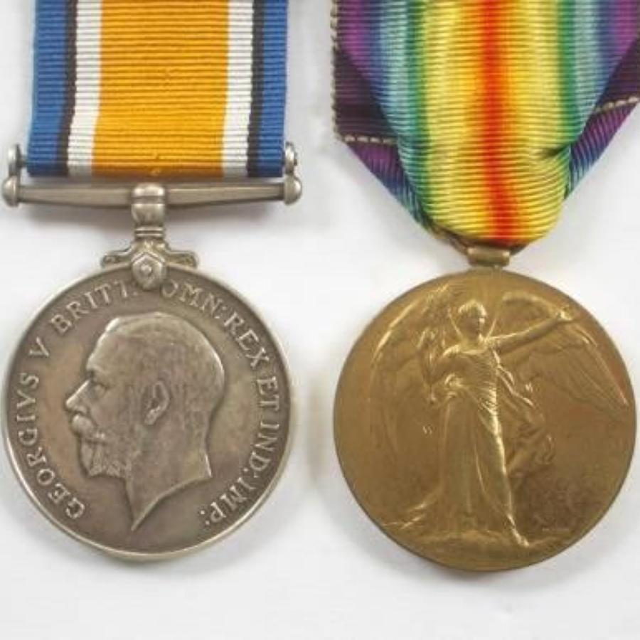 WW1 14th Bn Worcestershire Regiment Officers Pair of Medals.