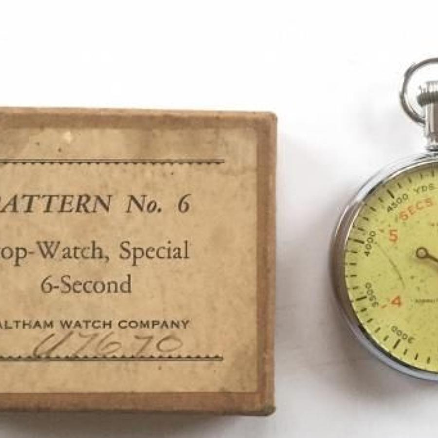 WW2 Period Pattern No.6 Stop Watch & Box by Waltham.