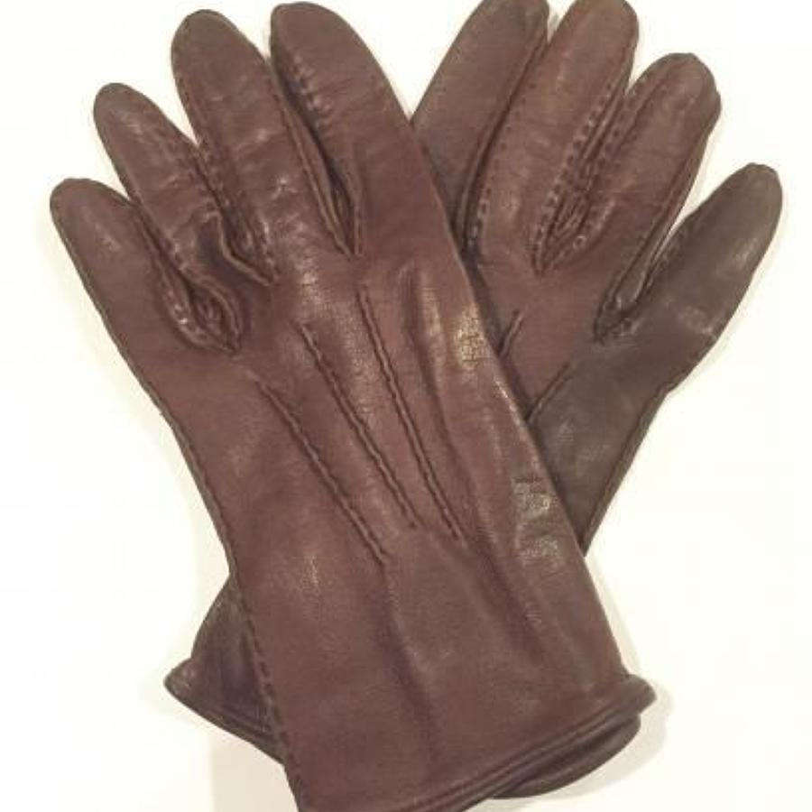 RAF Cold War Period Officer's Brown Leather Gloves.