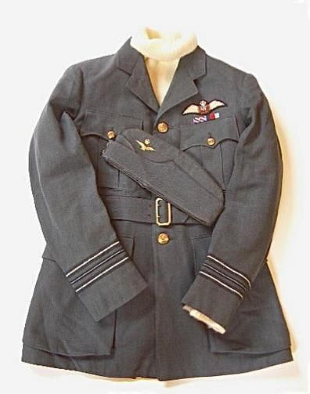 WW2 Period RAF Pilots Service Dress Tunic & Side Cap.