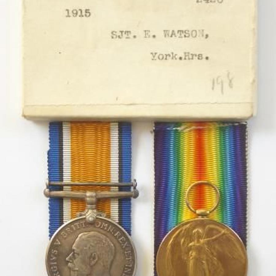 WW1 Yorkshire Hussars Pair of Medals.