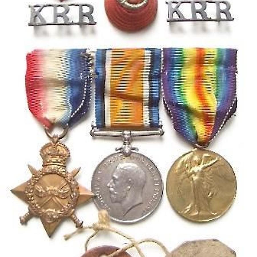 WW1 Kings Royal Rifle Corps Officers Medals and Badges.
