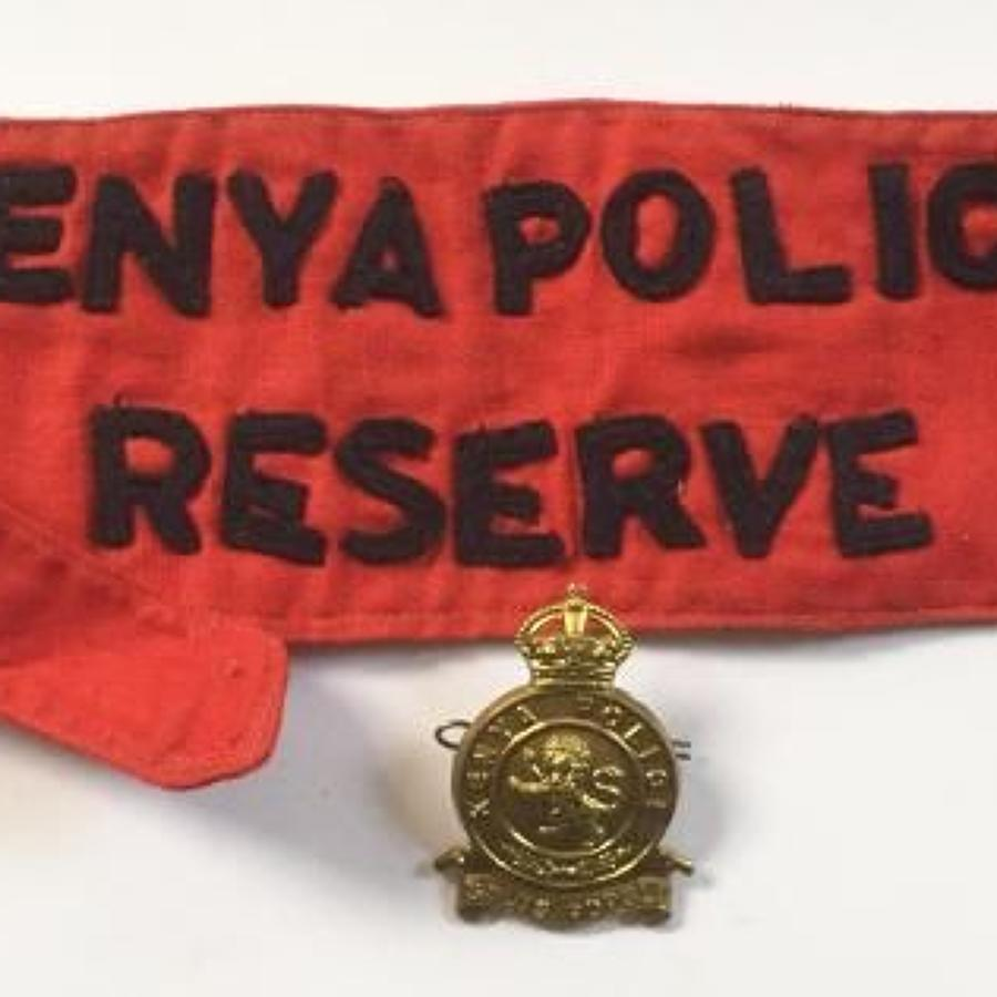 Kenya Police Reserve Armband & Cap Badge.