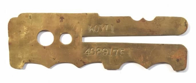 WW1 Pattern Brass Button Stick KOYLI King's Own Yorkshire Light Infant
