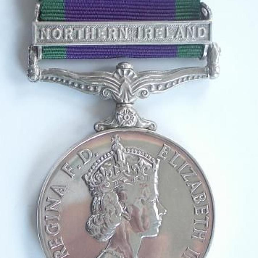 Queen's Dragoon Guards Campaign Service Medal Clasp Northern Ireland.