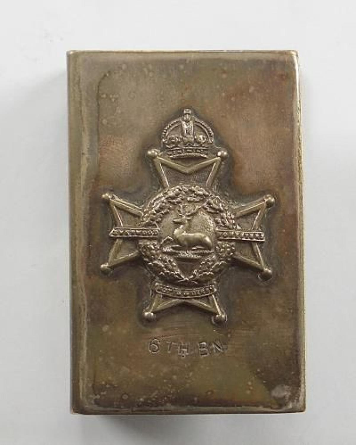 6th Bn. Sherwood Foresters (Notts & Derby) 1933 Matchbox Cover